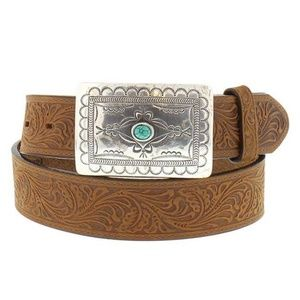 Tony Lama USA Boho Turquoise Western Leather Belt